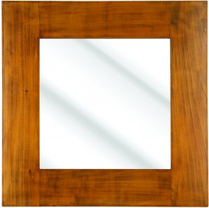 610X610MM 150MM AMERICAN OAK POLISHED WOOD MIRROR