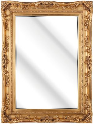 "4"" ANTIQUE GOLD SWEPT FRAME WITH MIRROR"