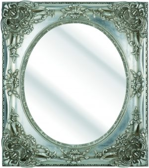 """4"""" EMBOSSED SILVER DUTCH OVAL BEVELLED MIRROR"""