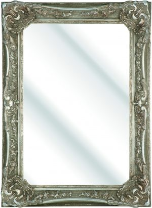 100MM WIDE HEAVY ORNATE SILVER SWEPT WITH MIRROR
