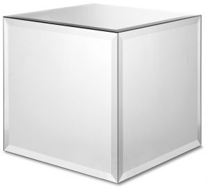 Clear Mirror Solid Cube Side Table