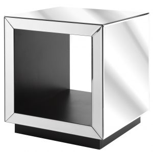 Clear Mirror Hollow Centre Cube Side Table
