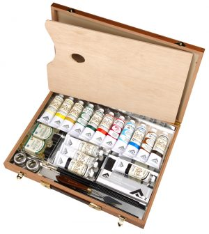 FILLED WOODEN PAINT BOX