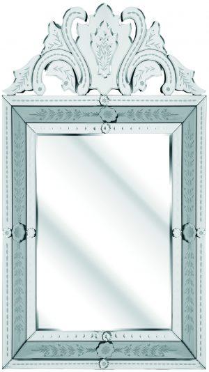 FLORAL BEVELLED CRESTED VENETIAN BLACK GLASS INNER