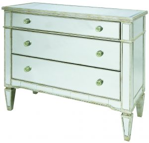Solitaire Clear Mirror with Silver Frame Chest of 3 Drawers