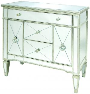 Solitaire Clear Mirror with Silver Frame Sideboard Cabinet
