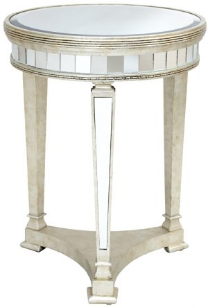 SILVER BEVELLED ROUND THREE LEGGED COFFEE TABLE