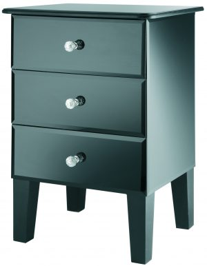 Solitaire Black Glass 3 Drawers Bedside Cabinet