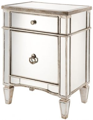 Solitaire Clear Glass with Silver Frame Bedside Cabinet