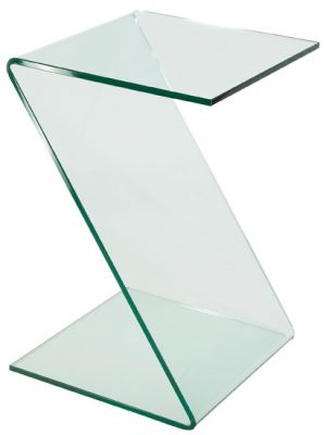 Solitaire Clear Glass Z Shape Side Table