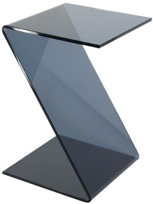 Solitaire Black Glass Z Shape Side Table