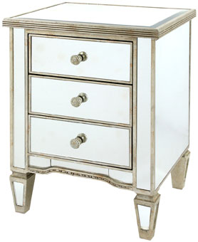 Solitaire Clear Mirror with Silver Frame 3 Drawers Bedside Cabinet