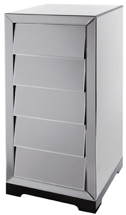 Solitaire Smoked Glass Chest of 5 Drawers