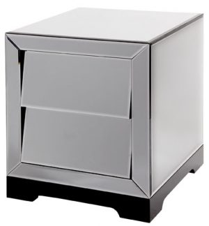 Solitaire Smoked Glass 2 Drawer Bedside Cabinet