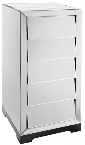 Solitaire Clear Mirror Chest of 5 Drawers