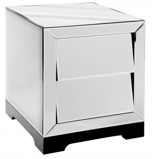 Solitaire Clear Mirror 2 Drawer Bedside Cabinet