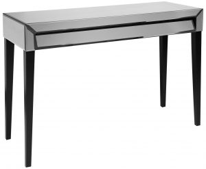 SMOKE GREY GLASS CONSOLE TABLE WITH DRAWER