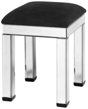 SQUARE MIRRORED STOOL WITH BLACK VELVET CUSHION