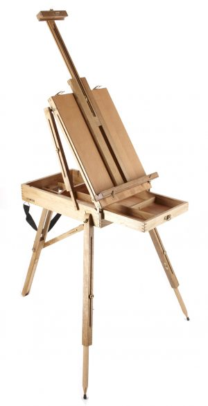 BOX EASEL WITH DRAWER, FOLDING LEGS